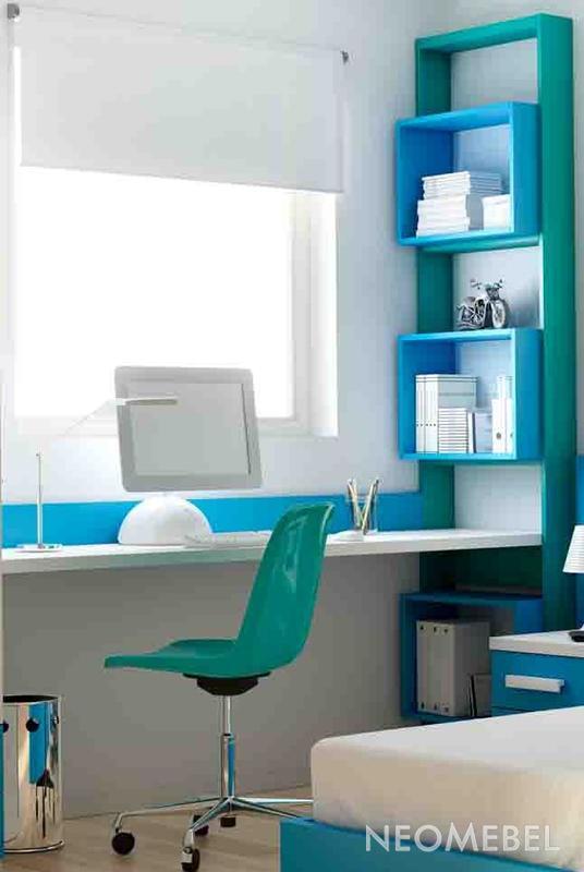 Письменный стол, отделка небесно-голубой матовый лак na30, т.